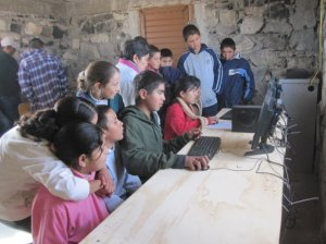 Children using the computers