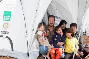 Syrian Family with Winterized tent