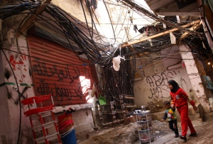 Palestinian refugees from Syria live in shanty camps in Lebanon
