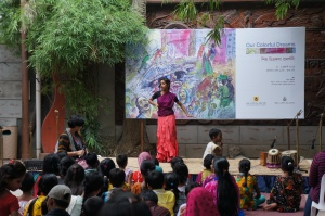 An art and dance exhibition of children doing domestic work held at the Bengal Gallery